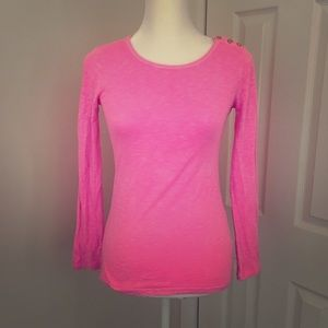 JCrew Pink long sleeve stone washed tee shirt SzXS